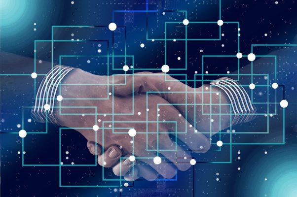 handshake with block chain overlay